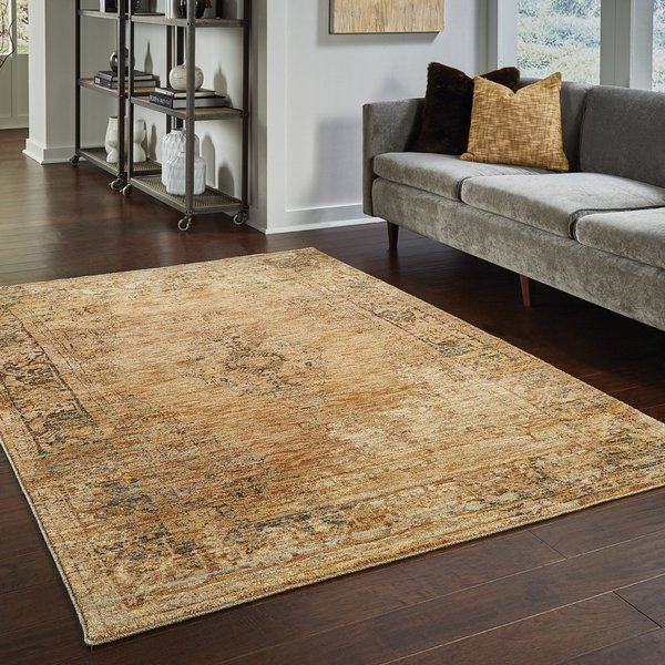 Gold, Brown Traditional / Oriental Area-Rugs