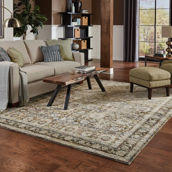 Green, Brown Traditional / Oriental Area Rug
