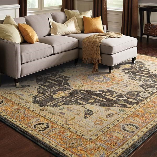 Gold, Grey Traditional / Oriental Area Rug
