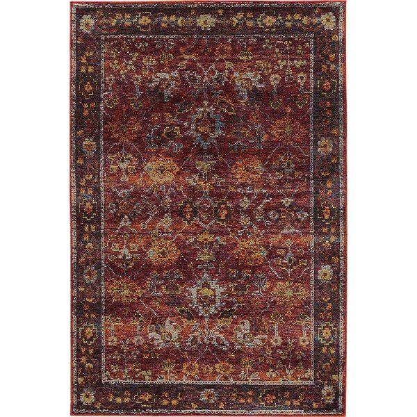 Red, Purple Traditional / Oriental Area Rug