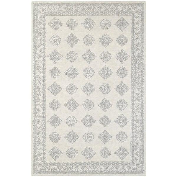 Grey, Beige Traditional / Oriental Area Rug