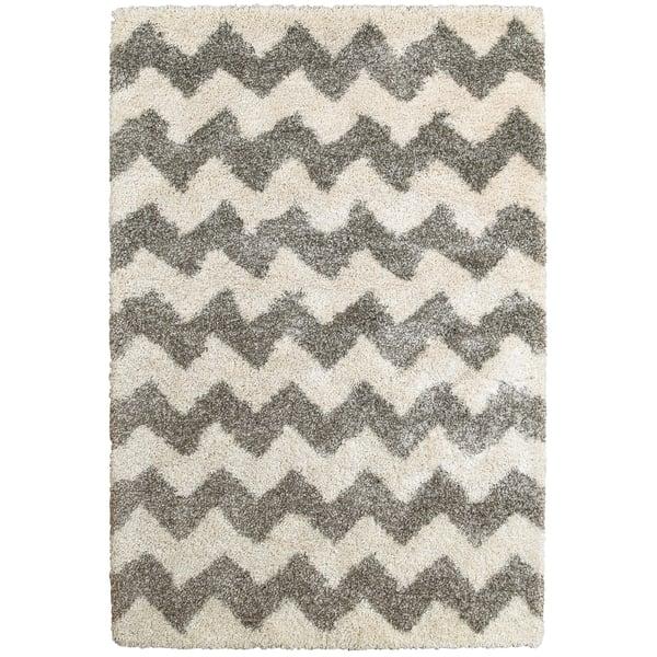 Grey, Ivory Shag Area Rug