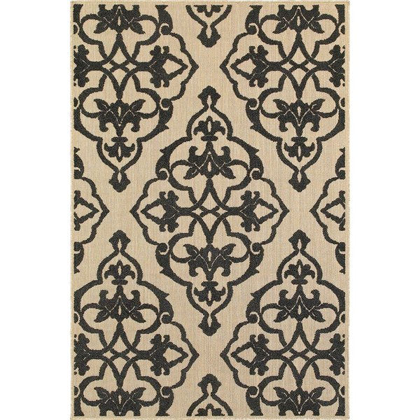 Sand, Charcoal Contemporary / Modern Area Rug