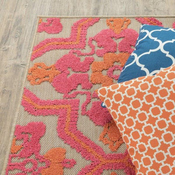 Sand, Pink (V) Contemporary / Modern Area Rug