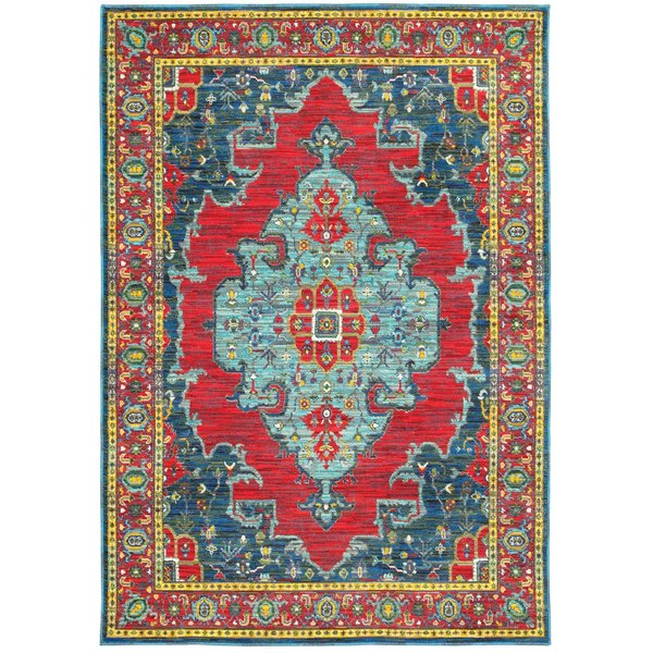 Blue, Red Traditional / Oriental Area-Rugs