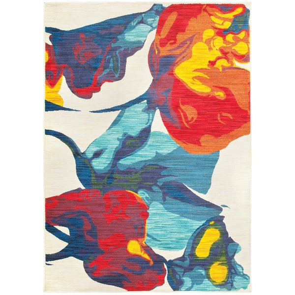 Ivory, Red, Blue, Yellow Abstract Area-Rugs
