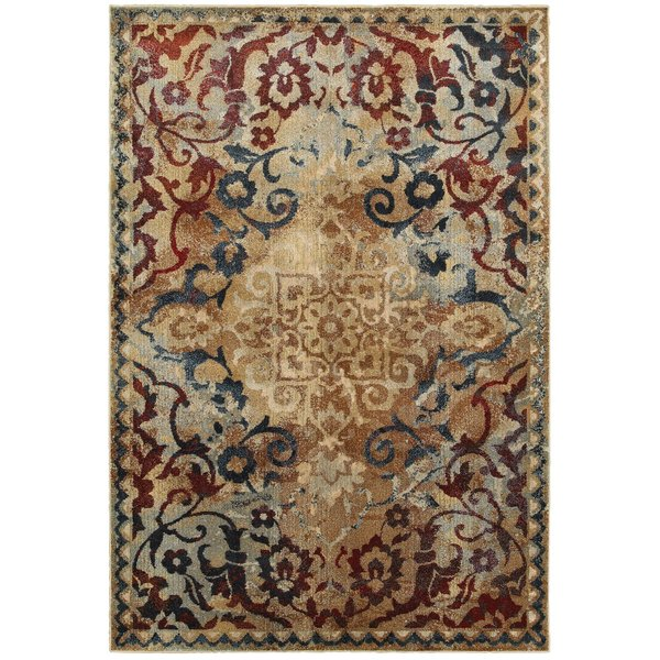Gold, Red Contemporary / Modern Area-Rugs