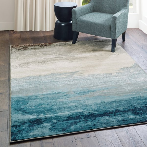 Blue, Beige (A) Abstract Area Rug