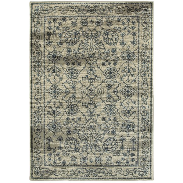 Beige, Navy (C) Traditional / Oriental Area Rug