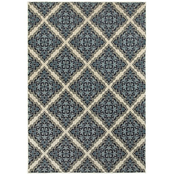 Ivory, Blue (B) Contemporary / Modern Area Rug