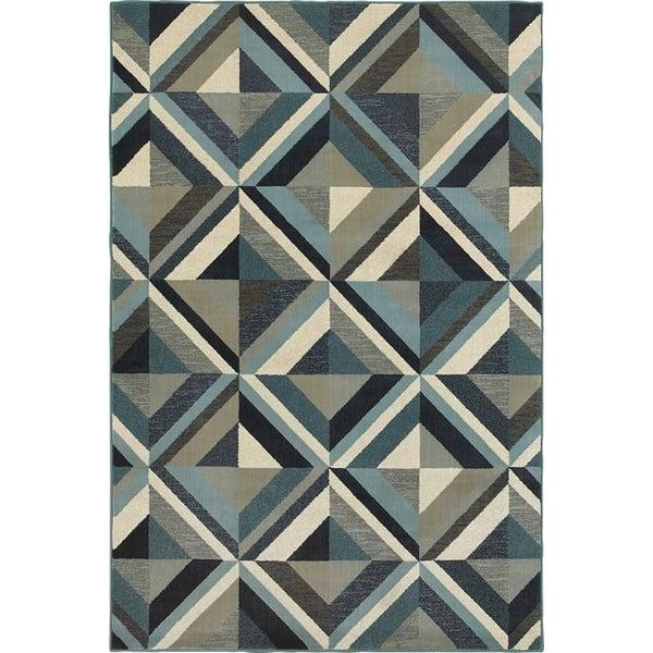 Blue, Grey (A) Contemporary / Modern Area-Rugs
