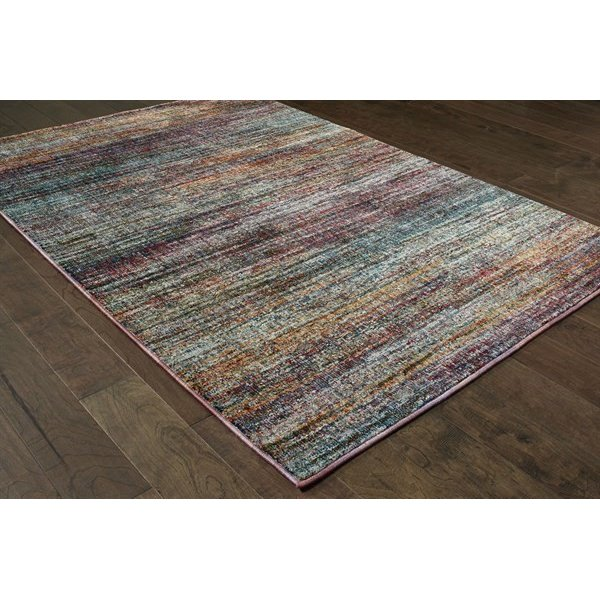 Grey, Purple, Orange (B) Contemporary / Modern Area Rug