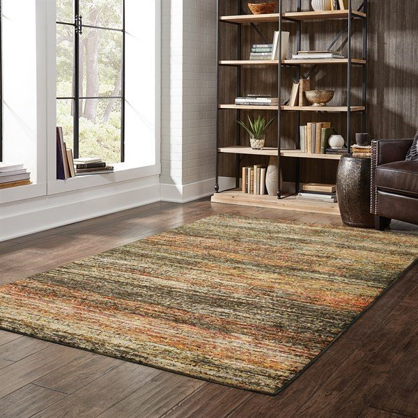 Charcoal, Gold (C) Contemporary / Modern Area Rug