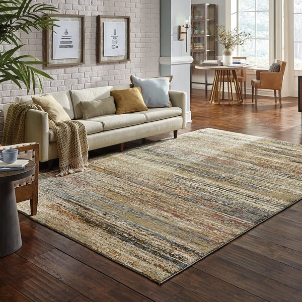 Green, Gold (J) Contemporary / Modern Area Rug