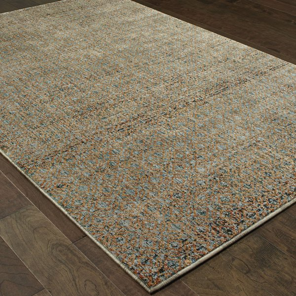 Blue, Gold (B) Contemporary / Modern Area Rug