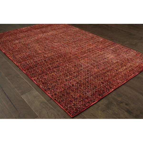 Red, Rust (K) Contemporary / Modern Area Rug
