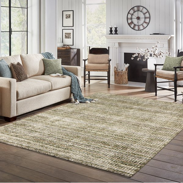 Green (A) Contemporary / Modern Area Rug