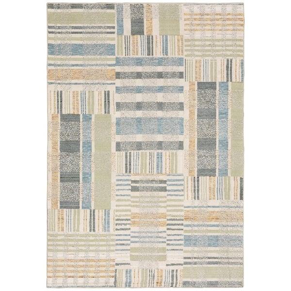 Beige, Grey, Blue (E) Contemporary / Modern Area Rug