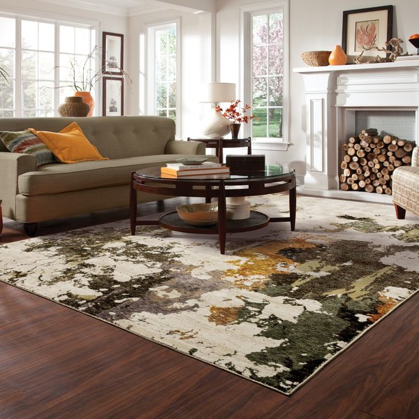 Beige, Charcoal (J) Abstract Area Rug