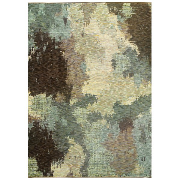 Blue, Brown (B) Abstract Area Rug
