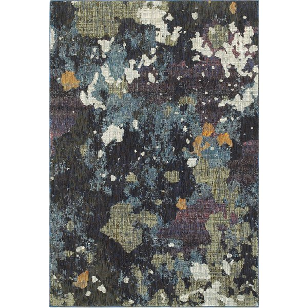 Navy, Green (A) Abstract Area Rug