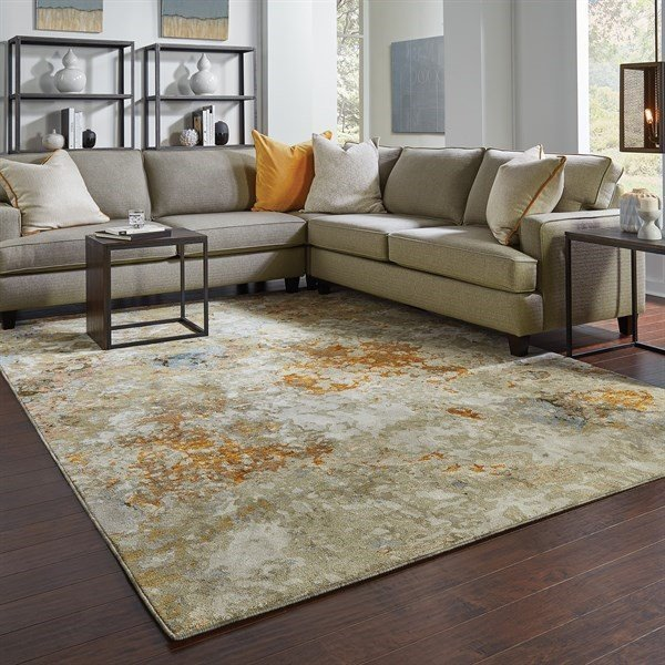 Gold, Beige (B) Abstract Area Rug