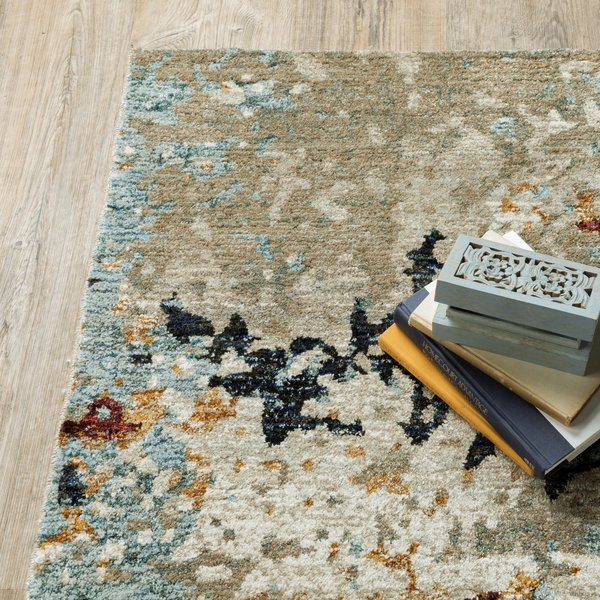 Beige, Blue (K) Abstract Area-Rugs