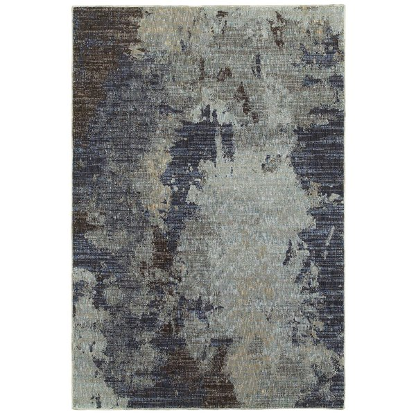Navy, Blue (B) Abstract Area Rug