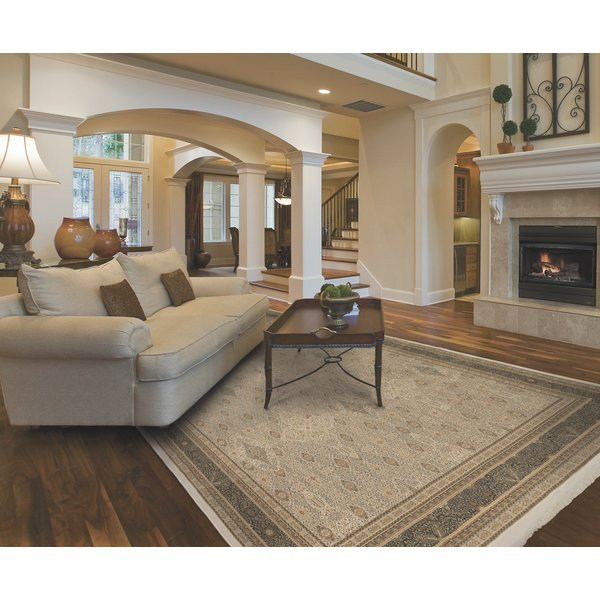 Ivory, Black (I) Traditional / Oriental Area-Rugs