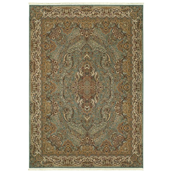 Blue, Gold (L) Traditional / Oriental Area Rug