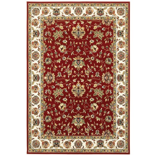 Red, Ivory (R) Traditional / Oriental Area Rug