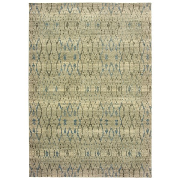 Ivory, Blue Moroccan Area-Rugs