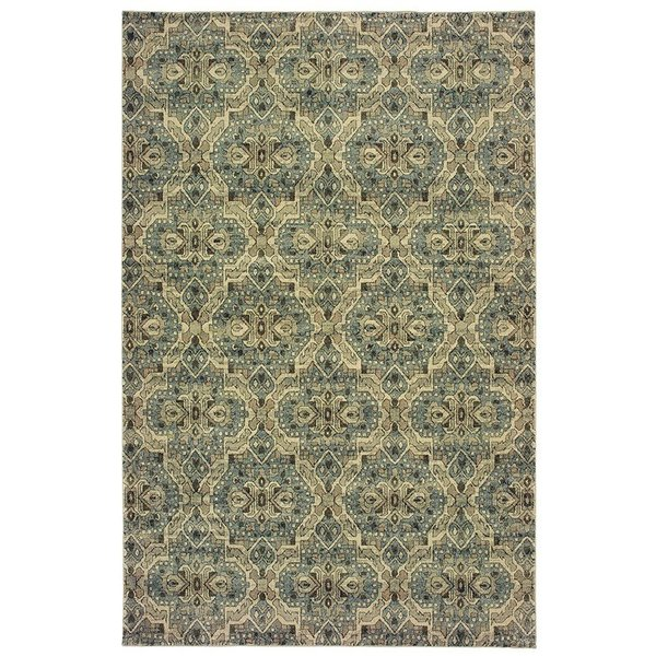 Ivory, Blue (L) Contemporary / Modern Area Rug