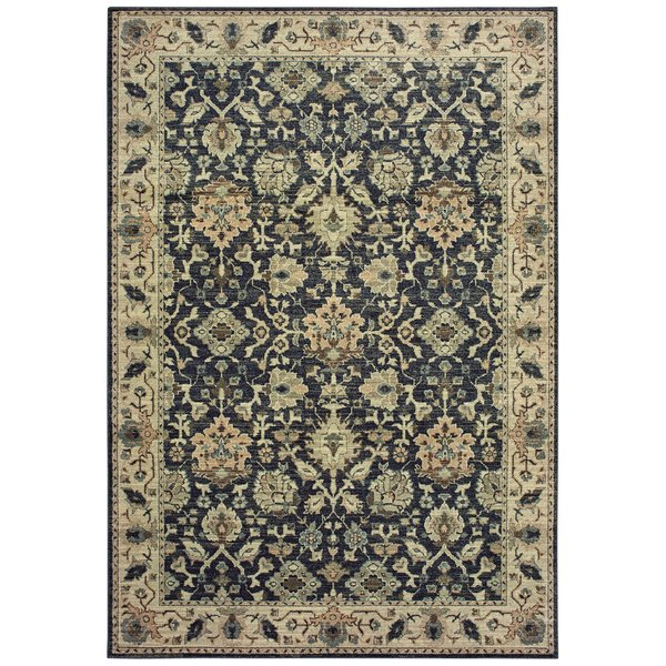 Navy, Ivory (P) Traditional / Oriental Area-Rugs