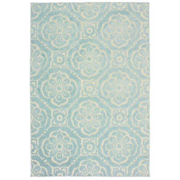 Blue, Ivory (L4) Contemporary / Modern Area-Rugs