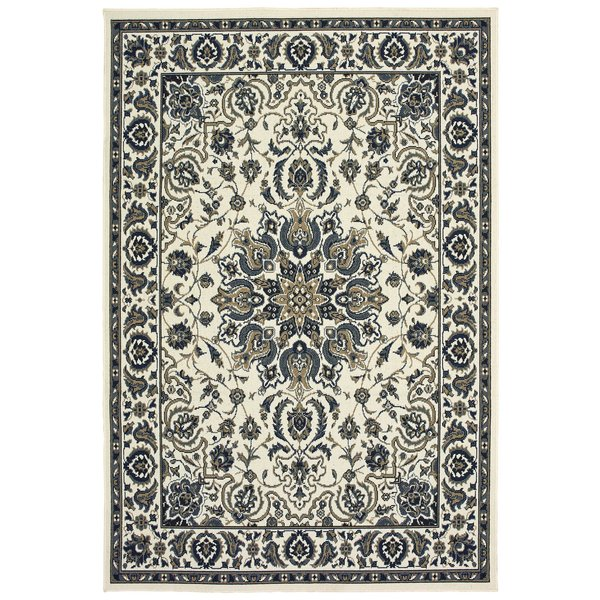Ivory, Navy Traditional / Oriental Area-Rugs