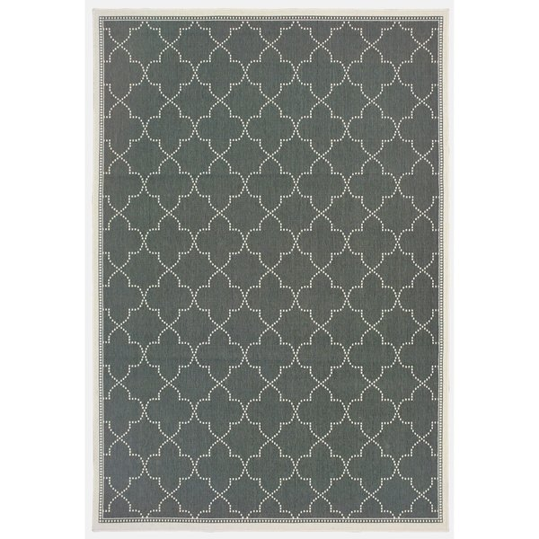 Grey, Ivory (L) Contemporary / Modern Area-Rugs