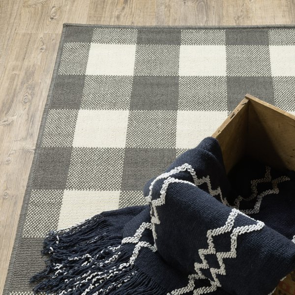 Grey, Ivory (W) Country Area-Rugs
