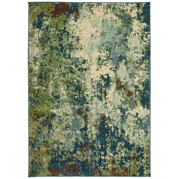 Blue, Green Abstract Area-Rugs