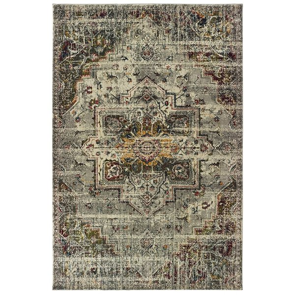 Grey, Ivory (X) Traditional / Oriental Area Rug