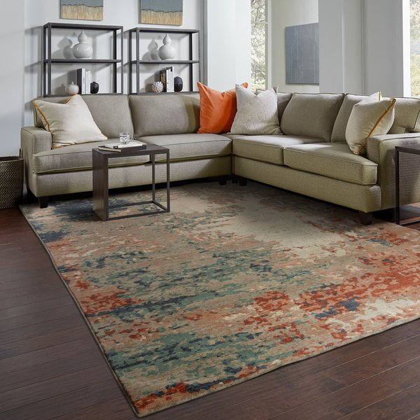 Blue, Rust (L) Abstract Area Rug