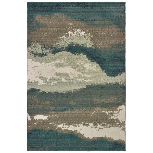 Blue, Ivory (B) Abstract Area Rug