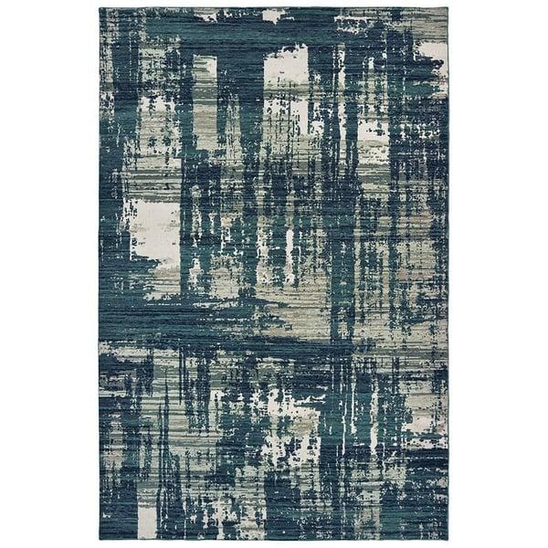 Blue, Grey (B) Abstract Area Rug