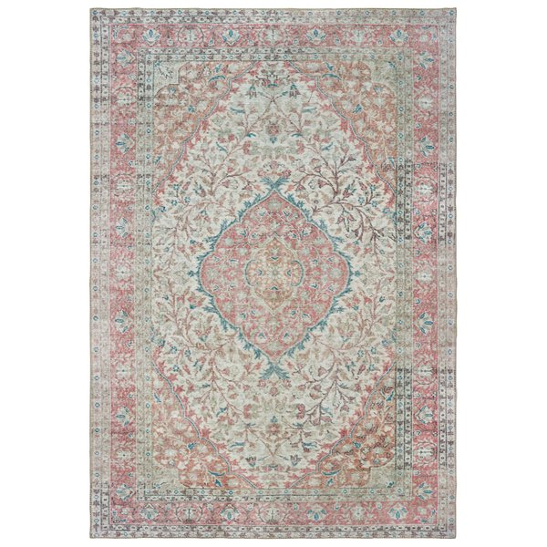 Ivory, Pink Vintage / Overdyed Area Rug