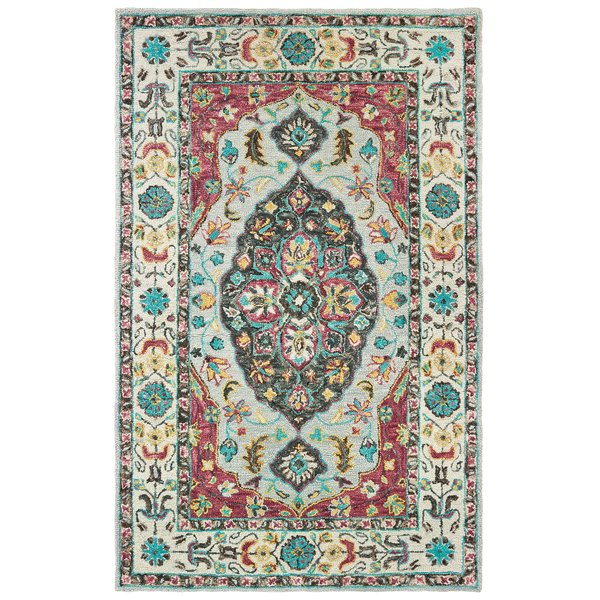 Grey, Pink Traditional / Oriental Area Rug