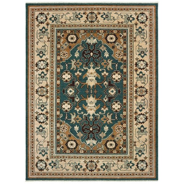 Teal, Sand (L) Traditional / Oriental Area Rug
