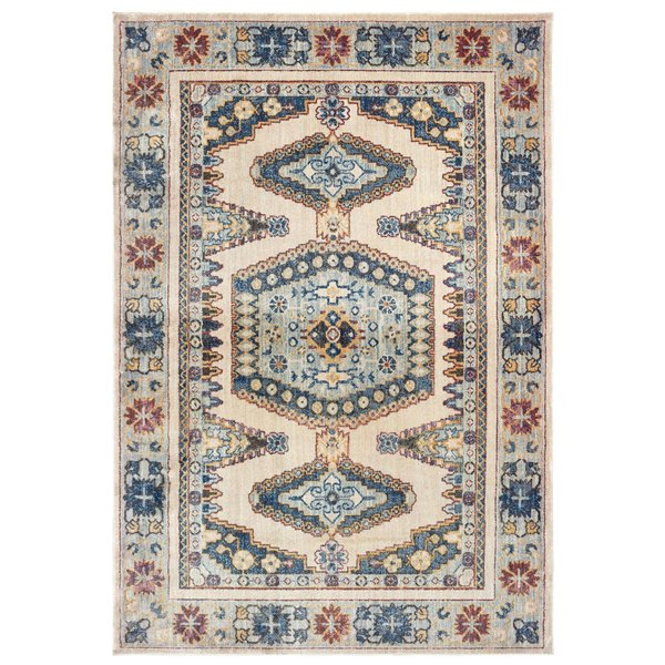 Ivory, Blue (I) Moroccan Area-Rugs