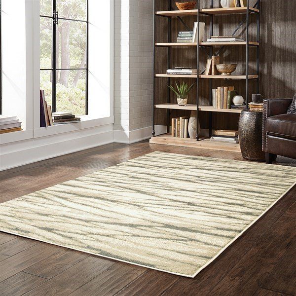 Ivory, Sand Abstract Area Rug