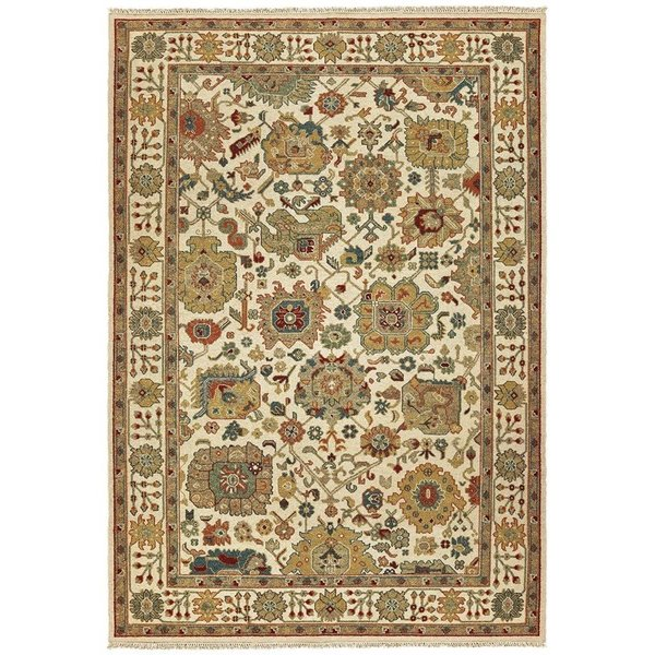 Ivory, Gold Traditional / Oriental Area Rug