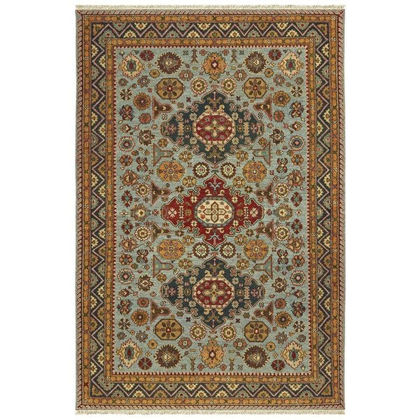 Blue, Gold Traditional / Oriental Area Rug